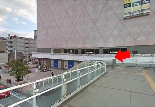 メンズ脱毛 小倉店道案内 小倉駅から「歩道橋を降りる」