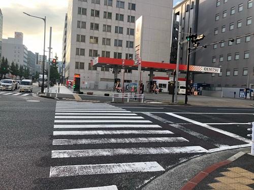 出光ガソリンスタンド-平和通駅からゼロ小倉