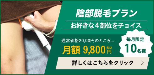 月額 陰部/VIO脱毛プランは9,800円