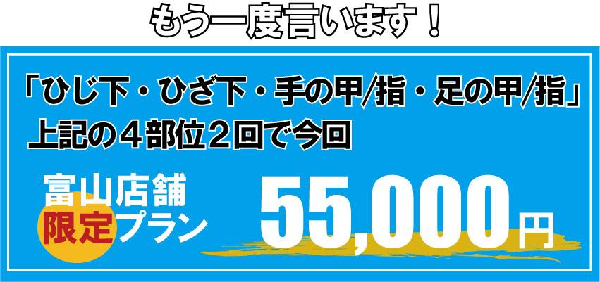 もう一度いいます!「腕脱毛(ひじ下脱毛)、足脱毛(すねげ脱毛)、手の甲指脱毛、足の甲指脱毛」4部位2回で今回55,000円。富山限定キャンペーンになります。