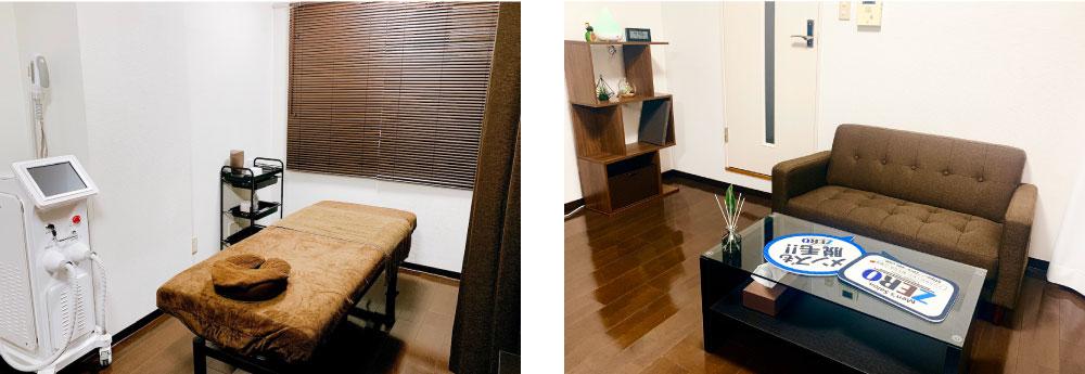メンズ脱毛京都駅前店の店内写真(脱毛施術スペースとカウンセリングスペース)