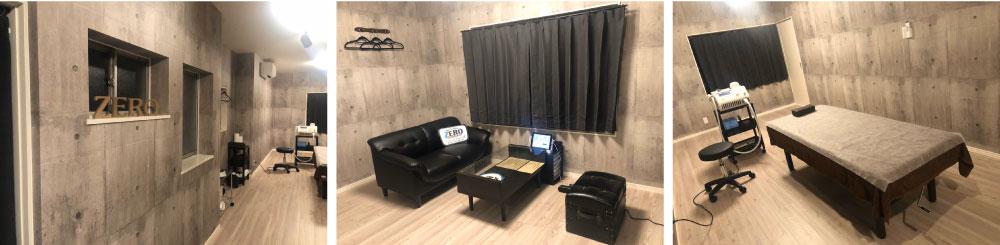 メンズ脱毛ZERO富山高岡店の店内写真(脱毛施術スペースとカウンセリングスペース)