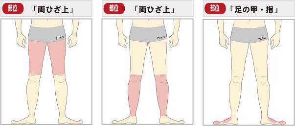 足脱毛全体 可能範囲一覧 (太もも脱毛・すね毛脱毛・足の甲指脱毛)