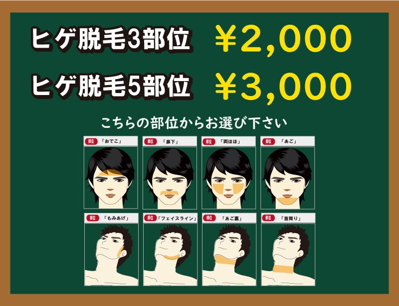 学割を使って初回ヒゲ脱毛をお得に脱毛しよう。通常初回ヒゲ脱毛料金はヒゲ3部位で3,000円が学割を使うと2,000円に、簡単に言うと1部位が無料になります。5部位では通常5,000円ですが学割を使うと3,000円に!実質ヒゲ2部位分の料金が無料になります! width=
