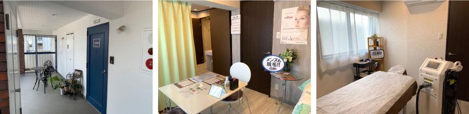 ZERO堀江店店内写真(玄関、カウンセリングルーム、脱毛施術ルーム)