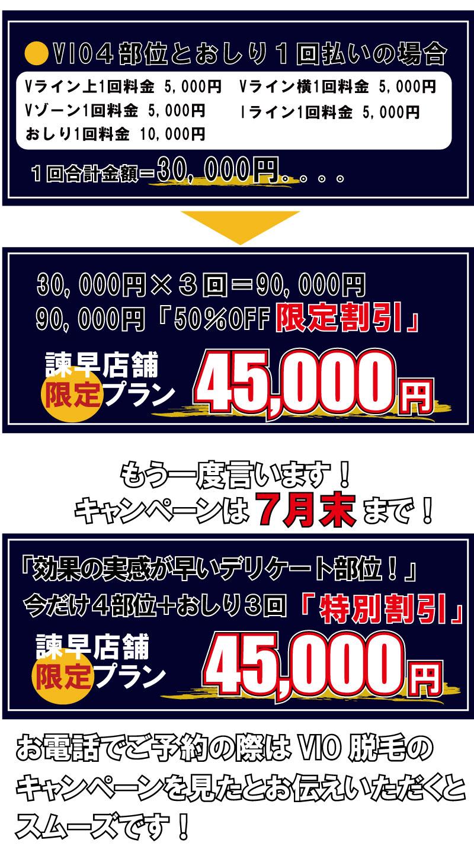 VIO4部位とおしり1回払いの場合。おしり1回料金 10,000円 Iライン1回料金 5,000円 Vゾーン1回料金 5,000円 1回合計金額=30,000円。。。。Vライン上1回料金 5,000円 Vライン横1回料金 5,000円。45,00090,000「50%OFF30,000円×3回=90,000円。「特別割引」今だけ4部位+おしり3回「効果の実感が早いデリケート部位!」
