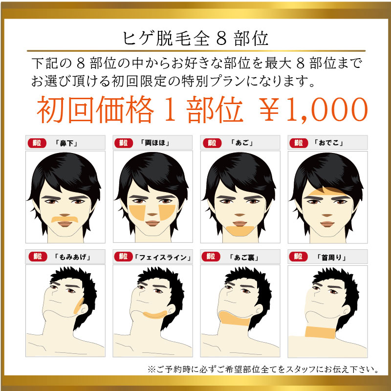 ヒゲ脱毛1部位1000円