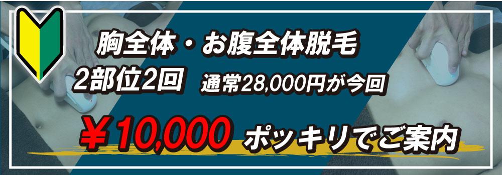 安城店の胸毛、腹毛脱毛は2回で10,000円ポッキリ